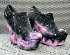 Nebula/galaxy print hand painted wedge heels