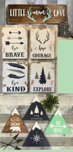 Nursery decor with a cabin, rustic, woodland flair. I love these. I want to decorate a nursery. Maybe for the grandbabies??!! #babyroom #homedecor #woodland #cabinstyle #rusticdecor #affiliatelink