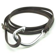 Men Women Leather Stainless Steel Bracelet, Fish Hook Anchor Wrap, Bro - InnovatoDesign
