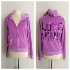 """VS PINK purple zip up VS PINK ombré purple zip up. Size L. 75% cotton/ 25% polyester. Measures 24"""" long with a 38"""" bust. Great used condition. Super comfy and perfect for Spring! Two front pockets. Ombré color was manufactured that way- it is not faded or damaged. There are a few sequins missing from the back, but it's so hard to tell with all the sparkle and shine.  No trades. Poshmark onlyI am very open to fair offers! PINK Victoria's Secret Tops Sweatshirts & Hoodies"""