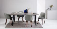 2x Lule, chaises, gris marne et gris grêle avec pieds en noyer | made.com