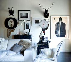 black and white eclectic scandinavian modern living room by recent settlers, via Flickr