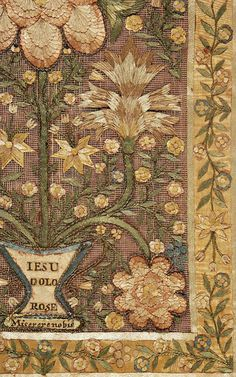 gtcgallery:  Detail from a panel of religious ribbonwork embroiderysilk threads, ribbon, square net, paper, ribbed silk, cord, metal threads17th century