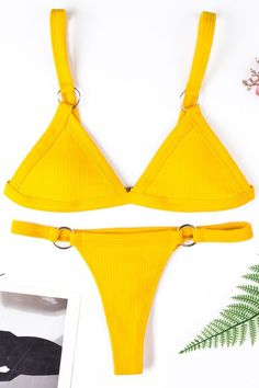 2c450c60c69 Sexy two piece swimsuit in solid color, details include a triangle bikini  top with pad
