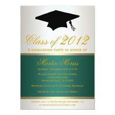 Shop Green and Gold Graduation Invitation created by party_depot. Graduation Quotes, High School Graduation, Graduation Parties, Graduation Ideas, Graduation Announcements Wording, Invitation Examples, Graduation Party Invitations, Zazzle Invitations, Invites