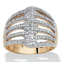 1/5 TCW Diamond 18k Gold over Sterling Silver Open Dome Ring - $159.99
