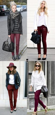 ways to wear: burgundy pants. i need some more colorful pants!