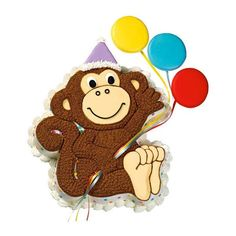 Party Primate Cake - A Monkey Pan cake is always fun. Now add cookie balloons and party hat frosted with royal icing, and you've got an instant party!