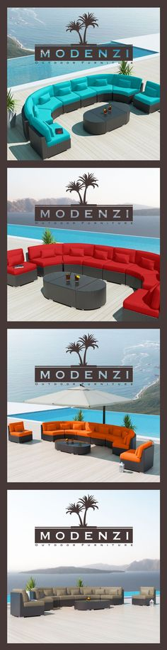 Modenzi All Weather 11G Rattan Wicker Outdoor Furniture sofa set Couch Chairs