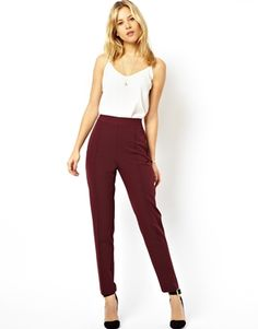 LOVE - High Waisted Trousers (Burgundy) | White Vest Top | Simple Necklace | ASOS.com