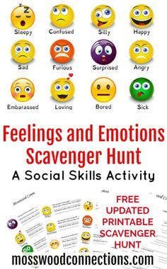 Feelings and Emotions Scavenger Hunt A Social Skills Activity With Free Printables
