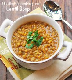 Hearty, comforting and very flavorful, this thick lentil soup is one of my favorite healthy winter pleasures.
