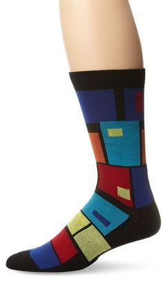 K.Bell Black Label Men's Color Blocks Crew Sock Geometric Block Pattern 10-13  #KBell #Casual