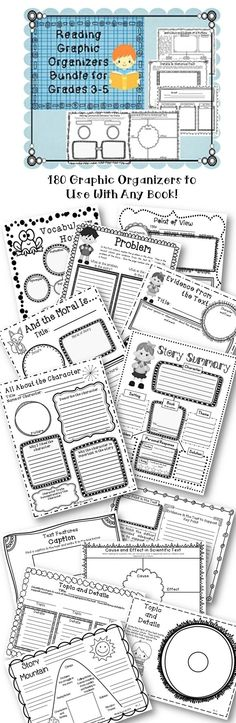 "180 Wonderful graphic organizers aligned with Common Core for grades 3-5.  Use with any book or story.  Look what buyers have said, ""So many things to love about this resource: 1.) I love that they are organized according to the CCSS R1, R2, R3...etc. So handy! 2.) I love that they are in grayscale, for easy printing! 3.) I love that they make it easy to differentiate my guided reading lessons amongst my leveled groups. Genius!""   $"