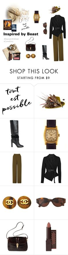 """""""Inspired by Beast (contest entry)"""" by scolab ❤ liked on Polyvore featuring Disney, Philip Treacy, Philosophy di Lorenzo Serafini, Miss Selfridge, Donna Karan, Chanel, RetroSuperFuture, Gucci, Burt's Bees and Bobbi Brown Cosmetics"""