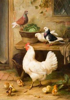 ART~ Pigeons And Hens~ Edgar Hunt (Two of my favorite birds! Chicken Painting, Chicken Art, Arte Do Galo, Chicken Pictures, Rooster Art, Chickens And Roosters, Art Uk, Farm Yard, Animal Paintings
