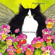 Tuxedo Cat Art Print Maine Coon Cat Tuxedo Kitty with golden Dragonfly Wings perches in a patch of Apricot Gold & Pink Pansies - it's created from artists watercolor painting - sizes avail in ACEO & 4 x 6 inches by 'DeniseEvery' on Etsy♥༺✿༻♥