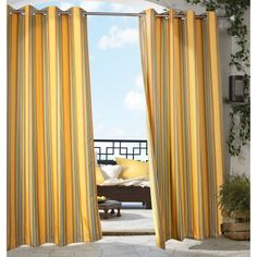 Outdoor Decor Gazebo Stripe Grommet Outdoor Curtain Panel