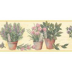 Potted Herb Script Kitchen Wallpaper Border
