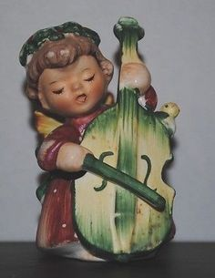 Christmas Lefton ANGEL Figurine Japan Cello Musical Vintage #1259 | #493448629
