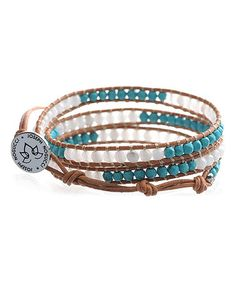 Another great find on #zulily! Teal & Silvertone Stone Leather Lotus Wrap Bracelet by Joseph Nogucci #zulilyfinds