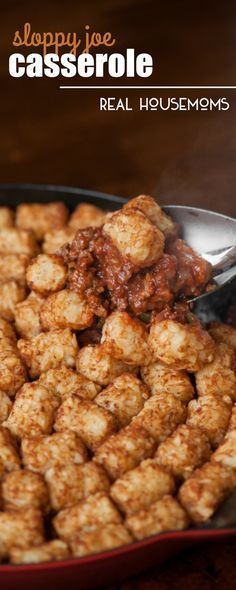 This SLOPPY JOE CASSEROLE made from a delicious homemade Sloppy Joe recipe is topped with tater tots for the ultimate comfort food dinner!