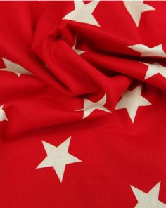 Large Star Print Cotton Fabric - White on Red