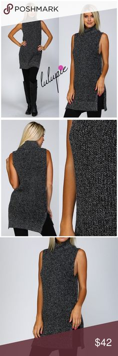 "🆕 Charcoal Knit Sleeveless Turtleneck Sweater Knit sleeveless turtleneck sweater Classic fit with slits on sides Extra long with ribbed bottom edge 75% acrylic, 25% mohair Sizes S/M and M/L  S/M: bust 18""/ waist 18""/ hips 19""/ length 32"" M/L: bust 19""/ waist 19""/ hips 20""/ length 33"" Bchic Sweaters Cowl & Turtlenecks"