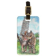 Cats at the Tower of Pisa Luggage Tag - cat cats kitten kitty pet love pussy