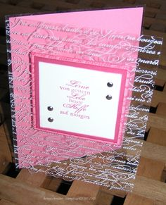 handmade card ... front page of acete ... luv the script stamped with StazOn white ... lovely card ...