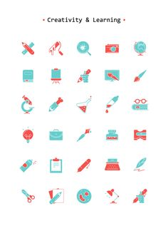 A free icons set with 30 uniquely designed icons all around creativity, learning and experimentation. The set comes in different formats including PSD, AI, SVG and PNG.