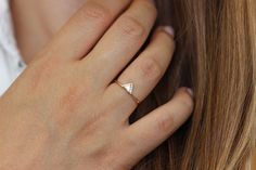 Triangle Diamond Engagement Ring Trillion Diamond Ring by artemer