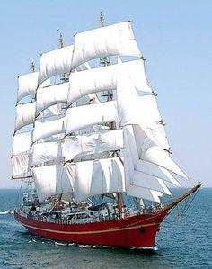 Khersones of the Ukraine // The Khersones or Chersones (Ukrainian: Херсонес) is a Ukrainian three-masted fully rigged tall  ship.