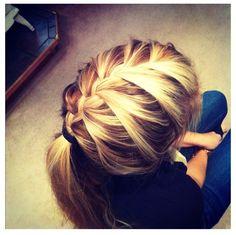 Blonde French braided hair