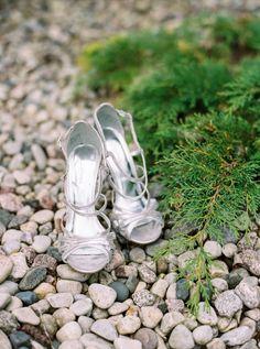 silver heels from Greenbay Wisconsin wedding featured on Trendy Bride Blog.