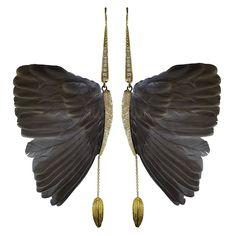 bird wing earrings Feather Jewelry, Butterfly Jewelry, Jewelry Art, Jewelry Accessories, Fine Jewelry, Fashion Jewelry, Jewelry Design, Jewelry Making, Unique Jewelry