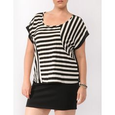 FOREVER 21+ PLUS SIZES Mixed Stripe Contrast Top