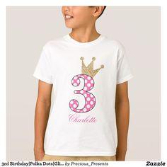 3rd Birthday Polka Dots Glitter-Print Personalize T-Shirt