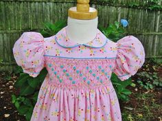 Girl Toddler Pink floral smocked dress by ForTheLoveOfSmocking