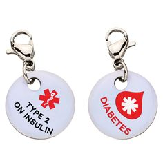 Type 2 Diabetes on Insulin with Blood Drop Charm - Aluminum - Large