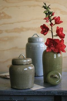 "S/3 Ceramic Canisters One each color (sage, grey, brown). Dimensions (in):Large - 10"""" x 21""""tMedium - 9"""" x 17.5""""tSmall - 10"""" x 13.5""""t By Kalalou - Kalalou is a wholesale manufacturer of distincti"