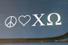 peace. love. chi omega :)  Bid Day '08!