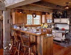 Wood cook stove in kitchen
