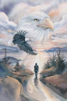 Bergsma Gallery Press :: Paintings :: Nature :: Birds :: Eagles :: The Path To Forever - Prints The Eagles, Bald Eagles, Eagle Images, Eagle Pictures, Native American Artwork, American Indian Art, Tattoo Indien, Eagle Wallpaper, Eagle Drawing