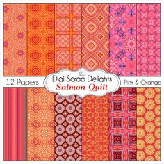 Salmon Quilt Scrapbook Paper in Pink & Orange by DigiScrapDelights (inspired by the salmon quilt on this board)