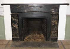 Item ID: 102136  Description:Federal style portoro marble mantel. Excellent condition. See 102137 for a matching mantel. Opening: 28w x 30h. Material:Portoro marble, Belgium black marble Dimension: 73.5(W) 46.75(H) 9.75(D) Location:CT IV Quantity:1 Status:avail Price:Call for Price Price Type:single
