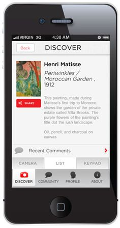 ArtClix, available from the High Museum of Art, Atlanta, brings together photo-recognition and social media to give Museum-goers a total interactive experience. Artworks are automatically recognized and the comments and photos taken by visitors are shared as part of an online community.