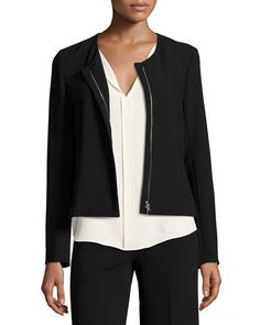 Tarlan Admiral Crepe Zip-Front Jacket, Black