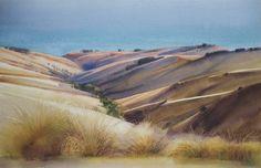 Shadows on Port hill, Hinewai Reserve, watercolour