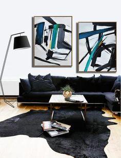 CZ ART DESIGN - Set of 2 Contemporary Painting on canvas #S166, original fine art, pair painting.